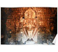 Sitting Buddha.  Prambanan Temple.  Java,  Indonesia. Poster