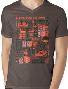 Moana Red Print Mens V-Neck T-Shirt