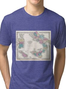 Vintage Map of Southern Italy (1855) Tri-blend T-Shirt