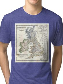 Vintage Map of The British Isles (1855) Tri-blend T-Shirt
