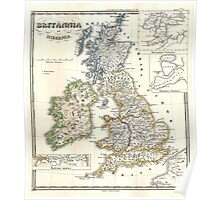 Vintage Map of The British Isles (1855) Poster