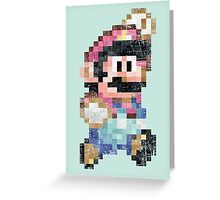 Mario World Jump Vintage Pixels Greeting Card