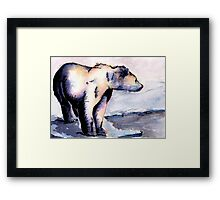 Watercolor and Ink Polar Bear Framed Print