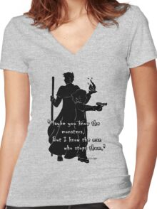 The Man Who Stops Monsters Women's Fitted V-Neck T-Shirt