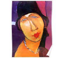 portrait of jeanne hebuterne wearing a hat  Poster