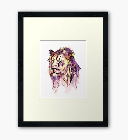 Watercolor and Ink Lion Framed Print