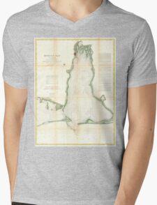 Vintage Map of Mobile Bay Alabama (1856) Mens V-Neck T-Shirt