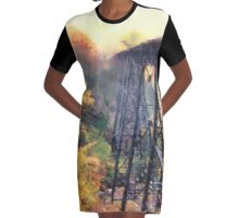 Upper Peninsula Train Trestle Graphic T-Shirt Dress