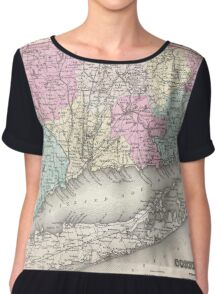 Vintage Map of Connecticut (1857) Chiffon Top