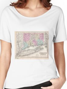 Vintage Map of Connecticut (1857) Women's Relaxed Fit T-Shirt