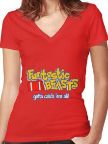 Fantastic Beasts - gotta catch 'em all Women's Fitted V-Neck T-Shirt