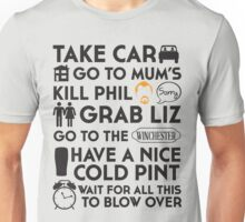 SHAUN OF THE DEAD THE PLAN Unisex T-Shirt
