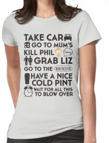 SHAUN OF THE DEAD THE PLAN Womens Fitted T-Shirt
