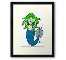 Green and blue lady of the sea Framed Print