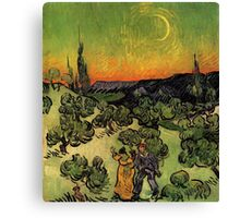 'Landscape with Couple Walking and Crescent Moon' by Vincent Van Gogh (Reproduction) Canvas Print