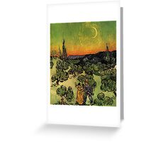 'Landscape with Couple Walking and Crescent Moon' by Vincent Van Gogh (Reproduction) Greeting Card