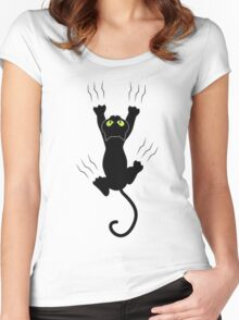 Funny Cat Grabbing Women's Fitted Scoop T-Shirt