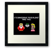 It's dangerous to go alone stitch face Framed Print