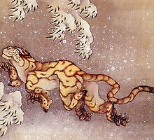 'Tiger in the Snow' by Katsushika Hokusai (Reproduction) by Roz Abellera Art