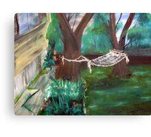 Warm Summer in the Back Yard-En plein air  Canvas Print