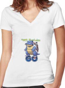 009 Blastoise GO! Women's Fitted V-Neck T-Shirt