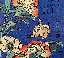 'Flowers' by Katsushika Hokusai (Reproduction) by Roz Abellera Art Gallery
