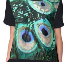 Peacock Feathers Graphic Chiffon Top