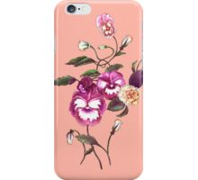 Pansy Purple on Dark Peach iPhone Case/Skin