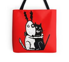 Bullie Dog and Black Cat Tote Bag