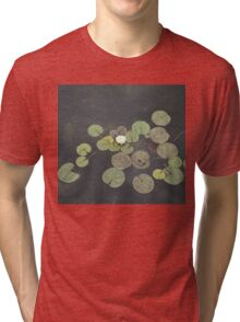 Just Chillin - A Little Turtle Relaxing on a Waterlily Leaf Tri-blend T-Shirt