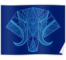 Elephant Head - Blue Poster