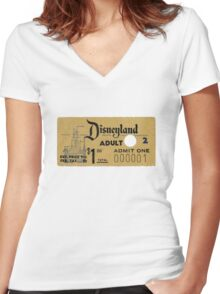 Vintage Disneyland, 1st Entry ticket Women's Fitted V-Neck T-Shirt