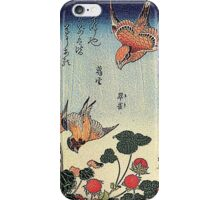 'Wild Strawberries and Birds' by Katsushika Hokusai (Reproduction)  iPhone Case/Skin