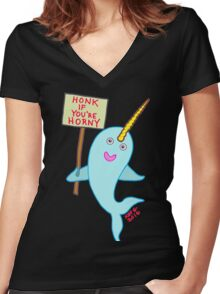 Naughty Narwhal Women's Fitted V-Neck T-Shirt