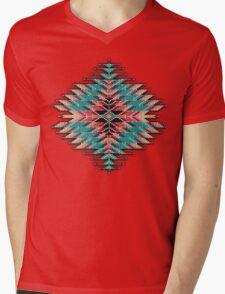 Native Style Southwest Beadwork Sunburst Mens V-Neck T-Shirt