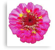 Pink Flower, Comic Book Halftone Canvas Print