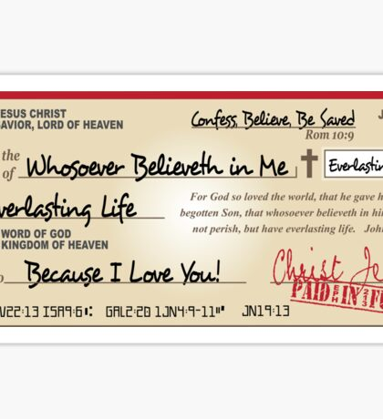 Jesus Paid in Full Check Christian Sticker