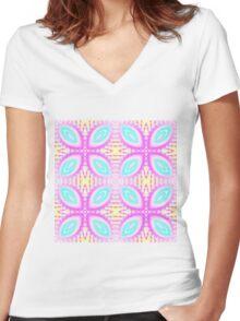 Sweet pastel kaleidoscope pattern Women's Fitted V-Neck T-Shirt