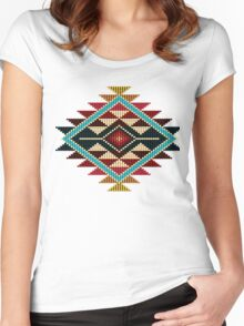 Native American Southwest-Style Rainbow Sunburst Women's Fitted Scoop T-Shirt