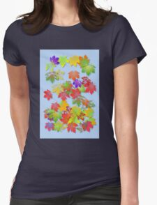 Falling Maple Leaves Womens Fitted T-Shirt