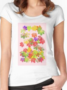 Falling maple leaves Women's Fitted Scoop T-Shirt
