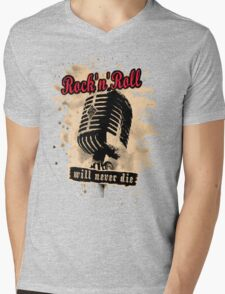 Rock-n-Roll Microphone - red Mens V-Neck T-Shirt