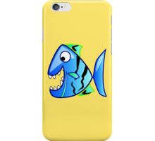 Blue Piranha Cartoon Fish iPhone Case/Skin