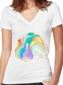 Deep Sea Colorful Surprises Marbling Women's Fitted V-Neck T-Shirt