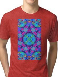 Rainbow swirl floral psychedelic pattern Tri-blend T-Shirt