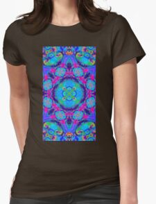 Rainbow swirl floral psychedelic pattern Womens Fitted T-Shirt