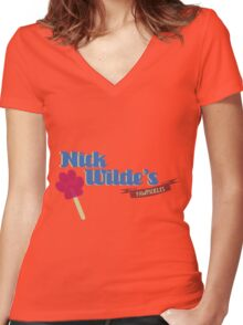 Nick Wildes Pawpscicles Women's Fitted V-Neck T-Shirt
