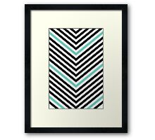 Chevrons - Black and Teal Framed Print