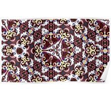 Cranberry and gold triangular repeating kaleidoscope design Poster