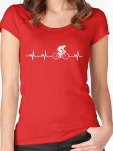 Cycling Heartbeat Women's Fitted Scoop T-Shirt